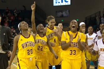 The Lady Eagles move on to the VisitMyrtleBeach.com Championship game. Photo was taken after Winthrop beat Liberty in the semi-finals.