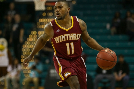 Winthrop's Andre Smith is the 21st player in program history to reach 1000 career points. He is pictured here in his final appearance in the Big South Tournament.