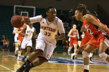 Erica Williams drives to the net in the Big South Basketball Tournament.