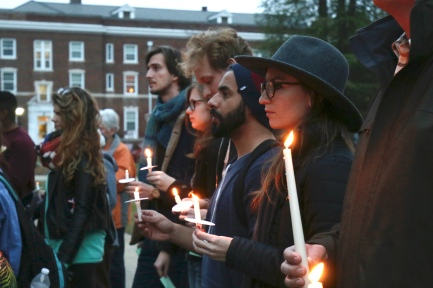 Students gathered in front of Byrnes Audiotorium to hold a vigil for victims of the Paris attacks. Jacob Hallex/ The Johnsonian
