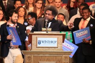 Cornel West speaks at a Bernie Sanders rally held in Byrnes Auditorum on Winthrop's campus.