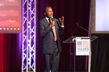 Presidential candidate Ben Carson speaks at the Carolina Values Summit. Jacob Hallex/ The Johnsonian